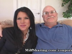 Sexy wife is having fun with her lover while her fat husband is watching her